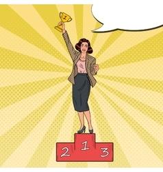 Pop art business woman standing on podium vector