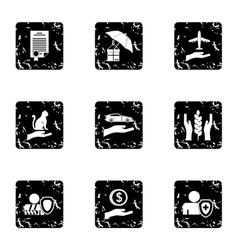 Protection icons set grunge style vector