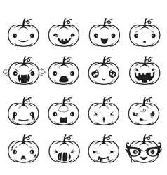Pumpkin Emoticons Set vector image