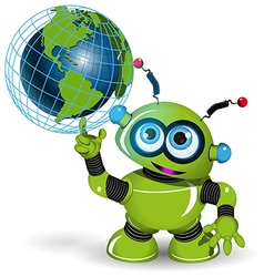 Robot and globe vector image
