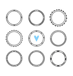 Set of 9 hand drawn frames cute circle wreaths vector
