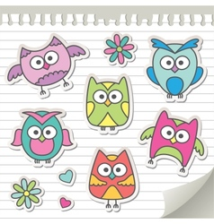 set of cartoon owls vector image