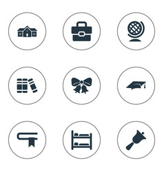 Set of simple school icons elements handbag break vector