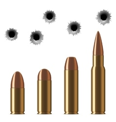 Shot gun bullets and bullet holes isolated vector