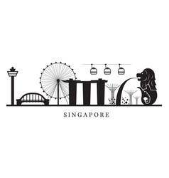 Singapore landmarks skyline in black and white vector