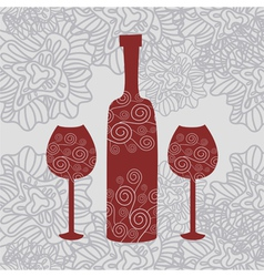 Wine Floral Background vector image