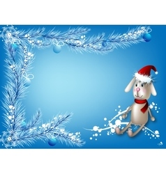 Winter blue background with a toy hare vector image vector image