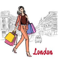 Women walking in london vector