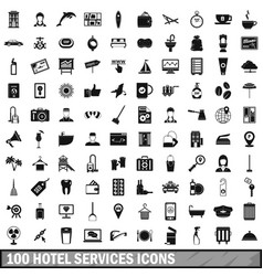 100 hotel services icons set simple style vector