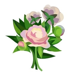 Beautiful delicate bouquet with pink flowers vector