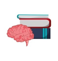 Books and brain icon vector