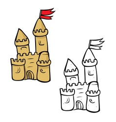Sandcastle coloring book vector