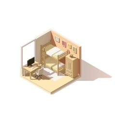 Isometric low poly children room icon vector