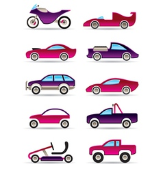 Racing cars motorcycles and off roads vector
