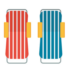 Two beach chaise lounges vector