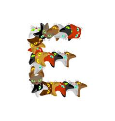 Letter e cat font pet alphabet symbol home animal vector
