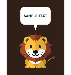 Cute lion in flat design style with speach bubble vector