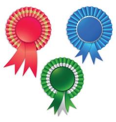 blank award ribbon rosette for winner isolated on vector image