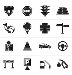 Black traffic road and travel icons vector