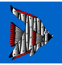 Mechanical fish on white vector