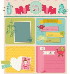 Scrapbook Design Elements - Baby Girl Cute Set vector image