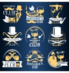 Colored gentlemen club label set vector