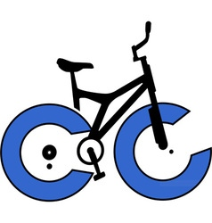 Abstract bicycle with blue wheels vector image