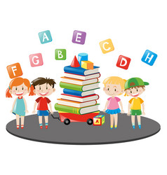 children and wagon full of books vector image vector image