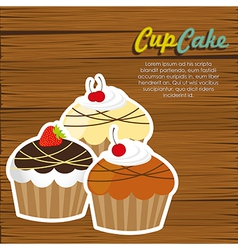 cupcakes on wooden background vector image vector image