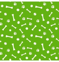 dog paw print bone and ball seamless pattern vector image