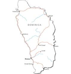Dominica Black White Map vector image vector image
