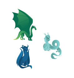 Dragon characters with wings whiskers and horns vector