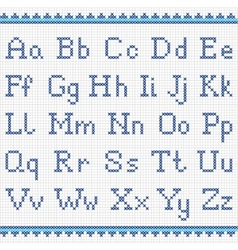 Embroidering alphabet Uppercase and lowercase vector image vector image