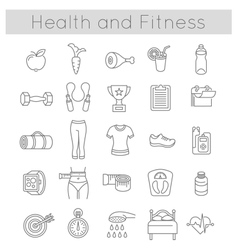 Flat Thin Line Fitness and Wellness Icons vector image vector image