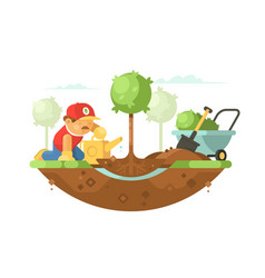 gardener watering seedling vector image