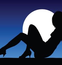 girl black silhouette posing vector image