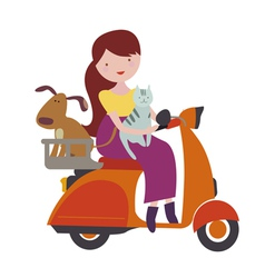Girl with cat and dog riding scooter vector