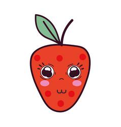 Kawaii cute tender strawberry fruit vector