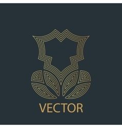 linear gold logo or icon of a flower with vector image vector image
