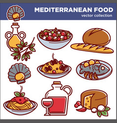 Mediterranean cuisine food dishes icons set vector