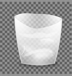 Open white blank plastic bag vector