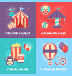 retro circus banners with festival elements vector image