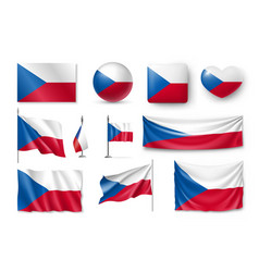 set czech republic flags banners banners vector image vector image