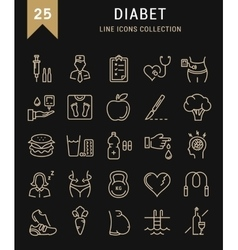 Set flat line icons diabet vector