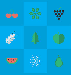set of simple garden icons elements corn blossom vector image