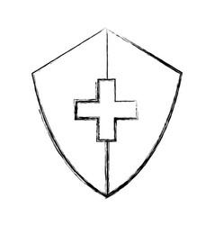 Sketch draw medical shield cartoon vector