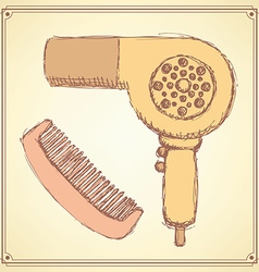 Sketch hairdryer and comb in vintage style vector image
