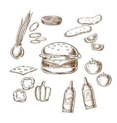 Sketch of tasty burger with many ingredients vector
