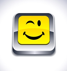 Smiley 3d button vector