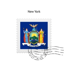 State of new york flag postage stamp vector